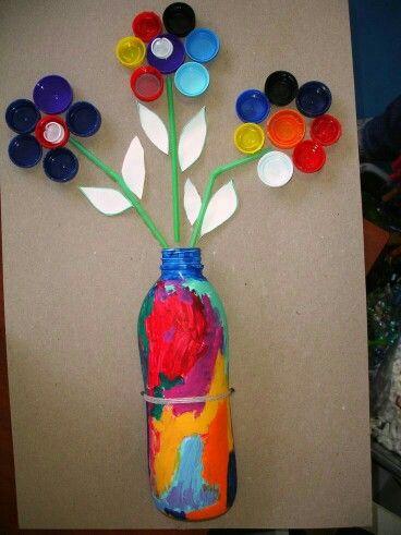 Quadro de Flor com Tampas de PET