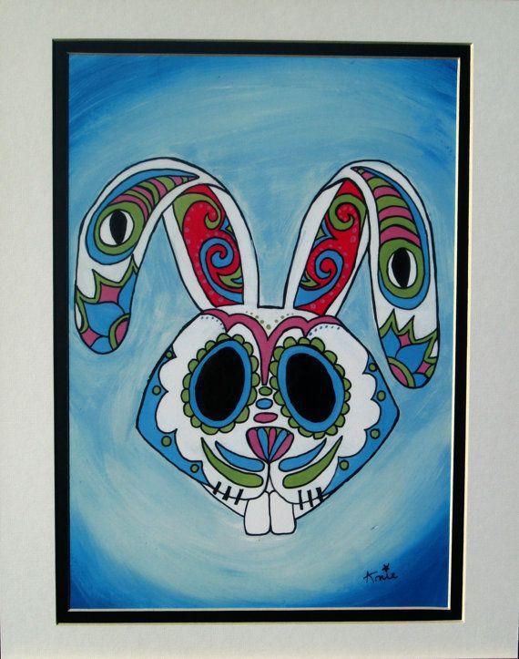 Original Acrylic Sugar Skull Print  Easter Bunny by ArniesArtwork, £26.00