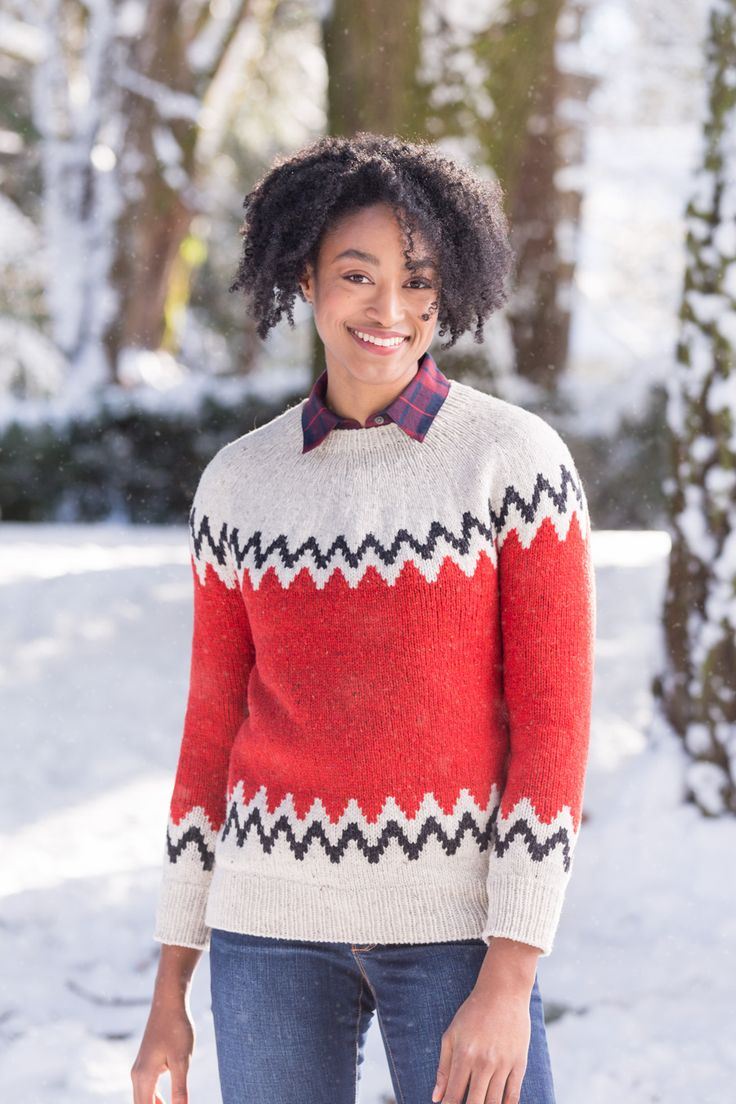 This playful yoke adds a note of cheeky nostalgia to your cold-weather wardrobe. Graphic zigzag patterning is unrepentant fun against a splashy main color, but you could change the look entirely by substituting a quieter three-color scheme from the Shelter palette. The stranded colorwork on the lower torso, sleeves, and yoke uses only two colors per round. …