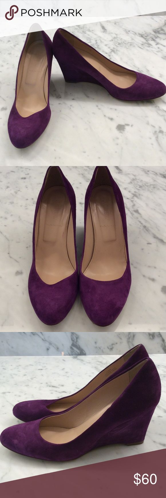 Purple suede J. Crew Wedges! Beautiful wedges are in like new condition - worn once to a wedding. In fun purple suede. Super comfortable yet eye-catching and gorgeous! Dust bag included. J. Crew Shoes Wedges
