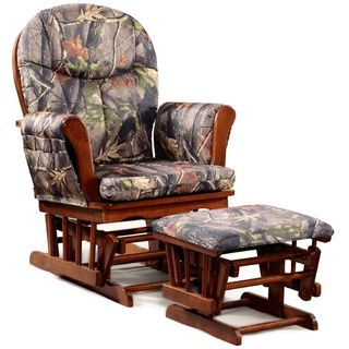 For grandpa- Cherry Wood Camo Cushion Glider and Ottoman