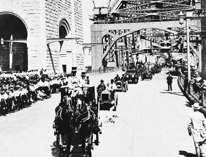 Opening day procession across Sydney Harbour Bridge, 1932. NAA: C4076/HN16137