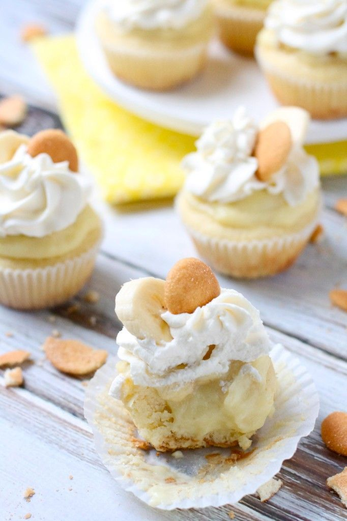 Banana Pudding Cupcakes Recipe ~ Says: every bite of these truly taste like the most delicious banana pudding.