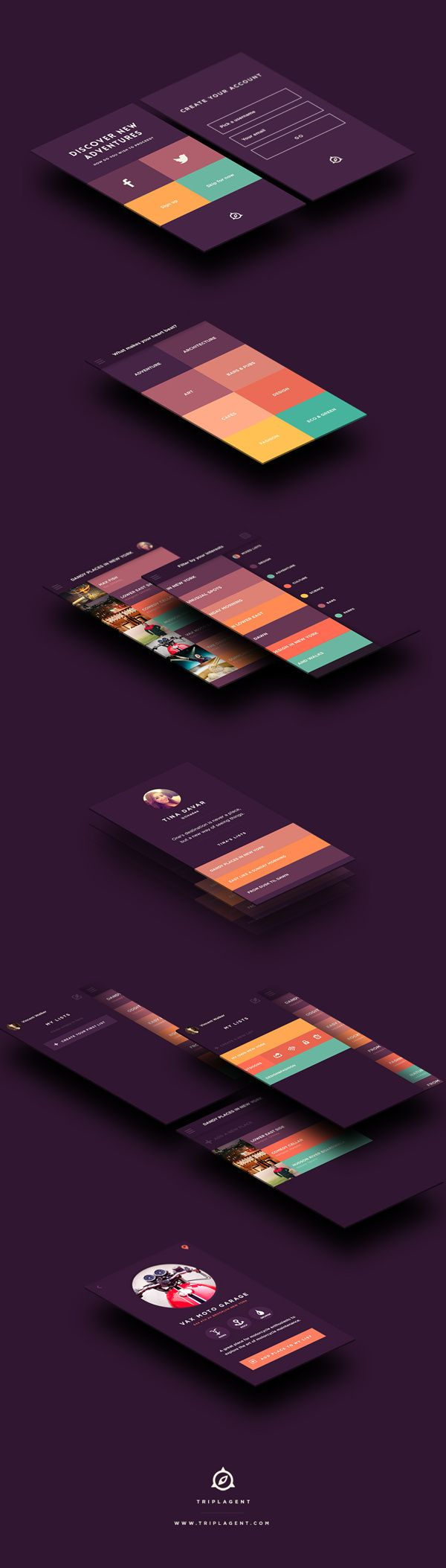 "TriplAgent *** ""TriplAgent - Mobile design and branding for a travel app where people can find the best places in the world based on their interests."" by Taras Kravtchouk, via Behance *** #app #mobile #gui #behance"