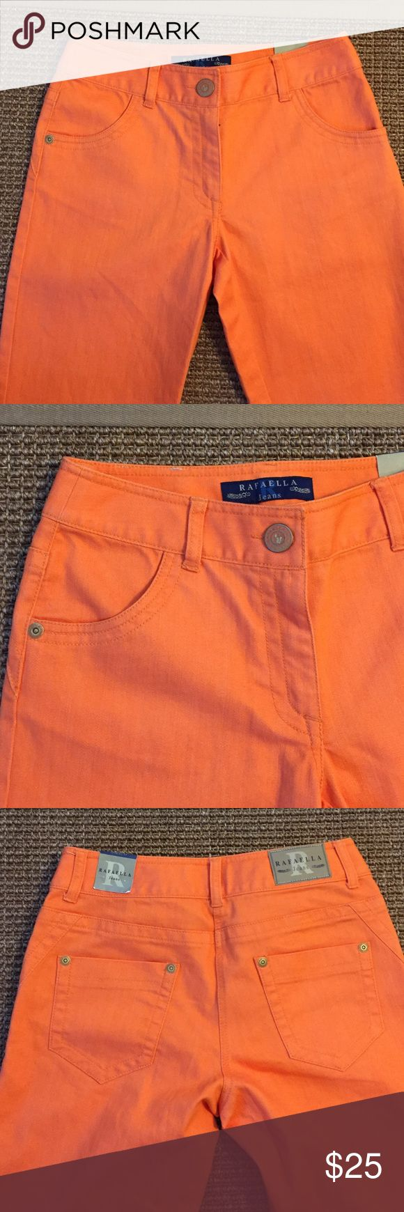"NWT RAFAELLA CROPPED JEANS: BRIGHT ORANGE SIZE 6 BRAND NEW RAFAELLA: BEAUTIFUL BRIGHT ORANGE CROPPED JEANS. 73% cotton, 26% polyester, 2% spandex med weight machine washable denim. Inseam 25.5"", waist about 28"", rise 9"". EXCELLENT CONDITION with tags. Rafaella Jeans Ankle & Cropped"