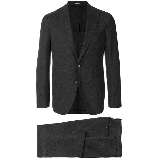 Tagliatore two-piece suit (595,780 KRW) ❤ liked on Polyvore featuring men's fashion, men's clothing, men's suits, grey, mens gray suit, men's 2 piece suits, mens two piece suits and mens grey suits