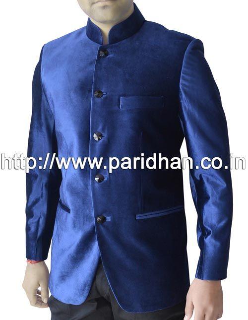 Mind blowing nehru collar jacket made in dark blue color velvet fabric.