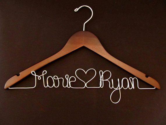 Personalized Wedding Hanger  WALNUT  Custom by noce on Etsy, $25.00