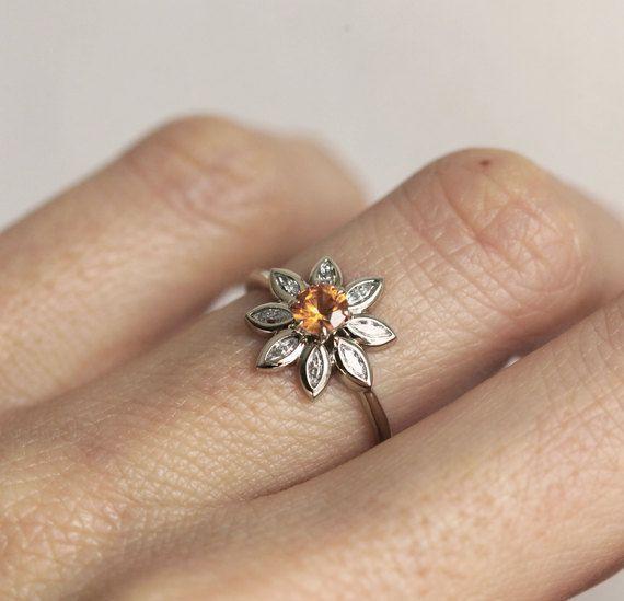 Flower Engagement Ring, Daisy Ring, Sapphire Diamond Ring, Orange Sapphire Ring, Unique Engagement Ring, Minimalvs #DazzlingDiamondEngagementRings