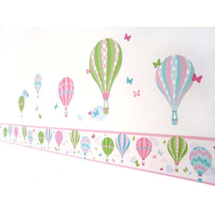 Bordüre Heißluftballons rosa/grün, selbstklebend