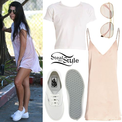 Kourtney Kardashian was spotted at the Santa Barbara Zoo with her family wearing a Rylie Baby Tee ($79.00) and the Crushed Velvet Zillah Slip Dress ($675.00) both by Are You Am I, Celine Mirror-Metal Aviator Sunglasses (£255.00) and Vans Authentic Core Classic Sneakers ($50.00).