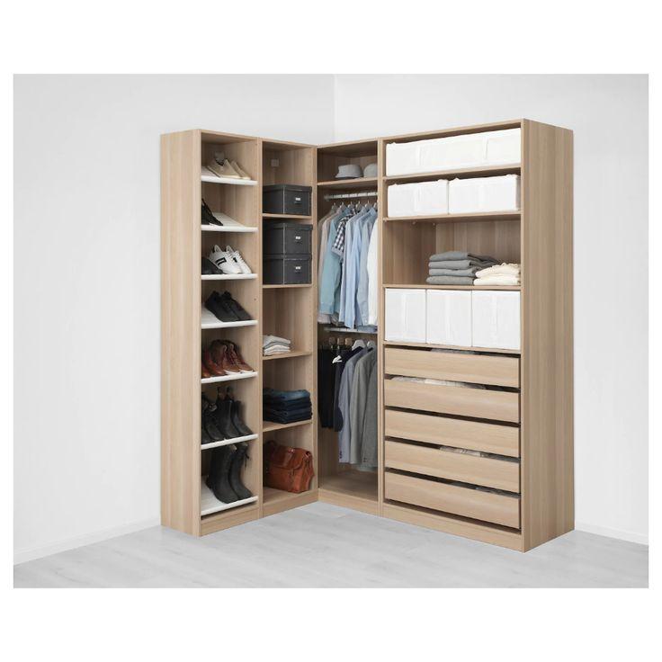 PAX Corner wardrobe white stained oak effect 160/188x236
