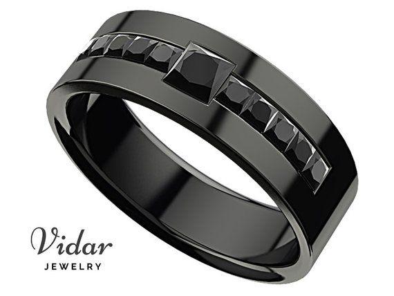 Black Diamond Wedding Band Man Wedding Band Black Diamond Ring