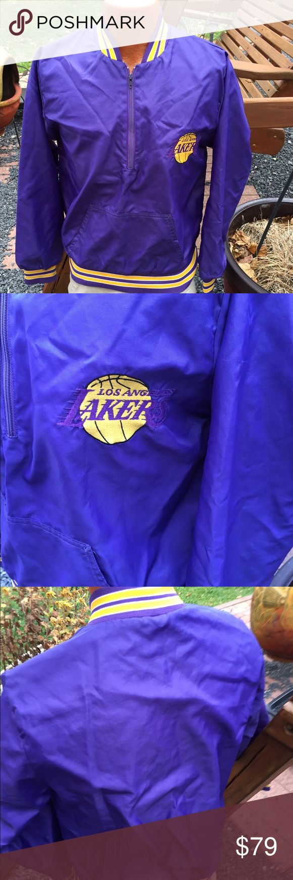 """Vintage Throwback Los Angeles LA Lakers Jacket Size small. No tag indicating maker. measures: shoulder to shoulder: 17"""". Pit to pit: 20"""". Bottom of the collar in the back to the bottom of the jacket: 25"""". 1/2 Zip Pullover Unknown Jackets & Coats"""