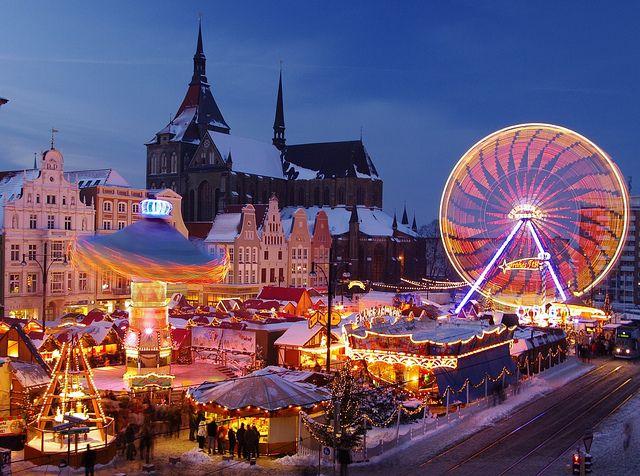 Christmas market in Rostock, in the north German state Mecklenburg-Vorpommern