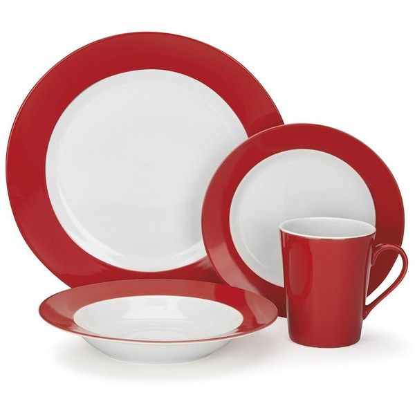 Cuisinart 16-pc. Dinnerware Set, Red (135 CAD) ❤ liked on Polyvore featuring home, kitchen & dining, dinnerware, red, red dinner plates, contemporary dinnerware sets, colored dinnerware, red porcelain dinnerware and cuisinart