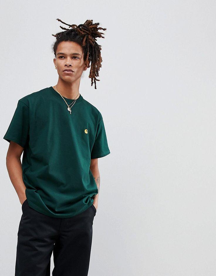 CARHARTT WIP CHASE T-SHIRT IN GREEN - GREEN. #carhartt #cloth #