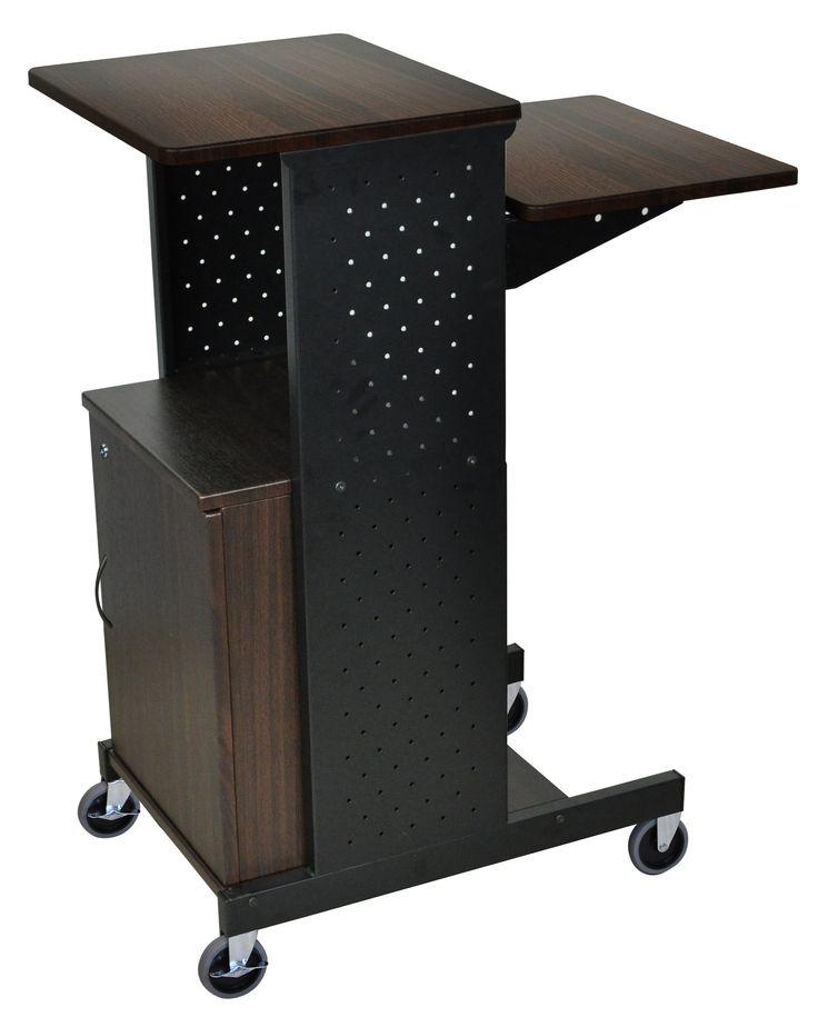 luxor mobile height adjustable computer workstation cart with lockable storage cabinet shelf