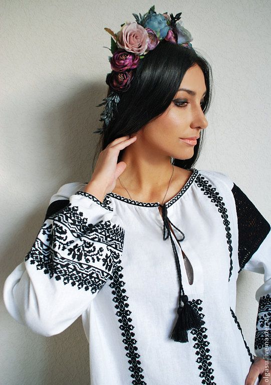 "Embroidered blouse ""Black magic"" ukrainian embroidery"