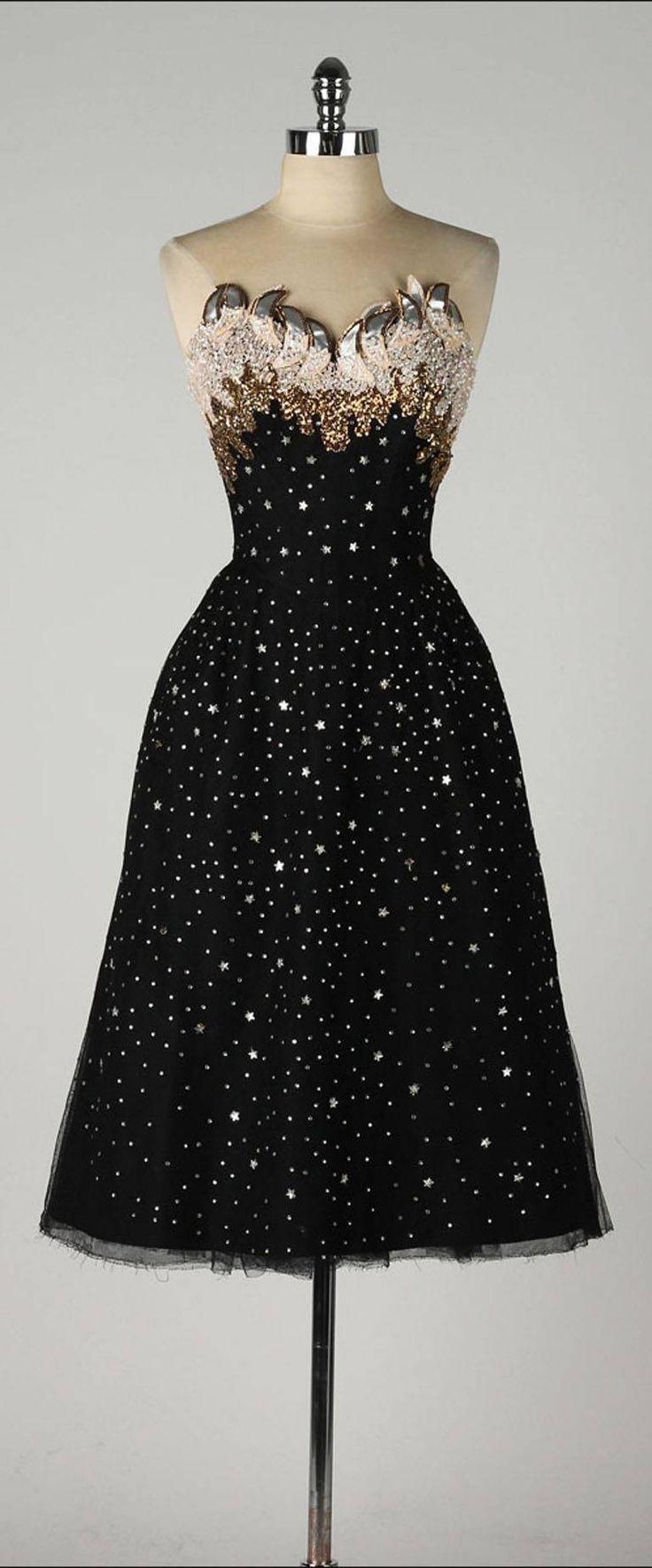 Vintage 1950's Rudolf Stars Rhinestones Cocktail Dress