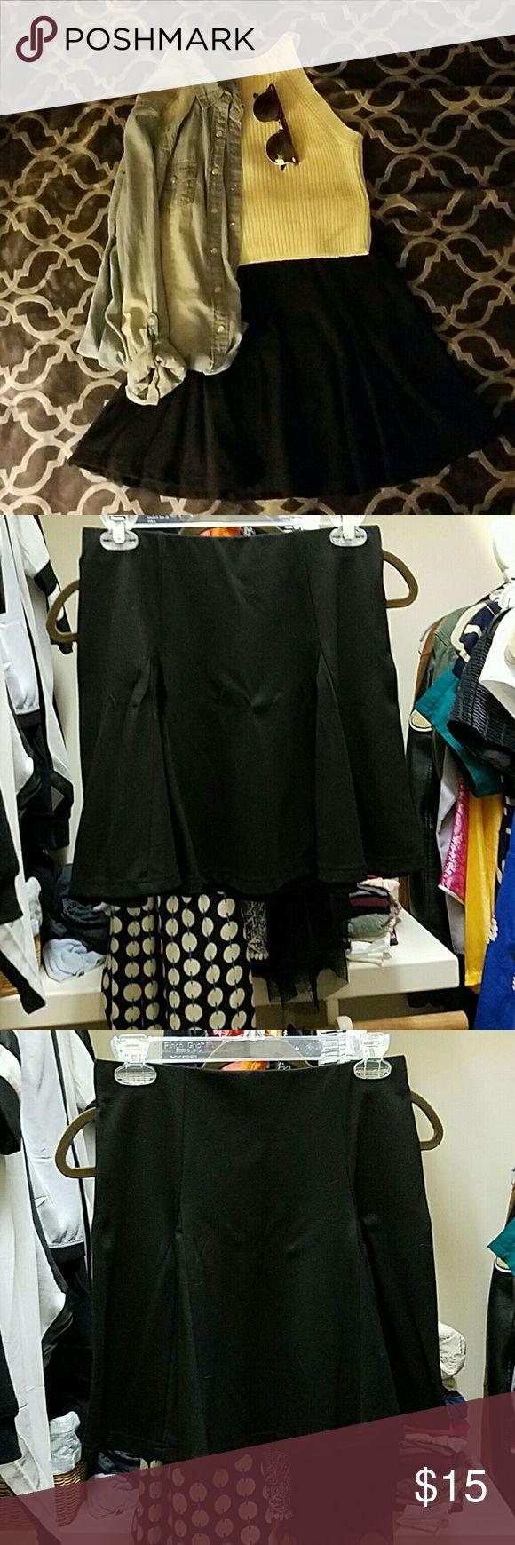 Black Circle Skirt Worn once  Good for formal attire  Comfortable Forever 21 Skirts Midi