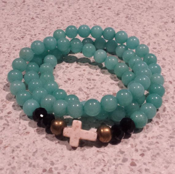 Amazonite wrap bracelet with carved cream by BeanCreationsbyGill, $25.00