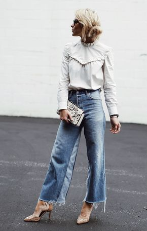 VIctorian style blouse with colorblock denim