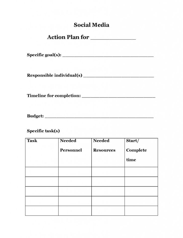 strategic planning action plan template - Google Search Work - social media plan template