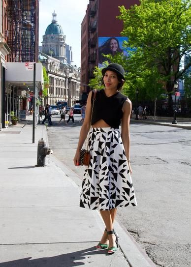 The most flattering way to wear a crop top—with a chic, full skirt and ladylike heels.