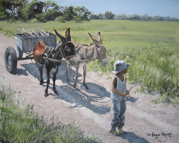 roger brown paintings | The Donkeys Painting by Roger Brown - Thabo And The Donkeys Fine Art ...