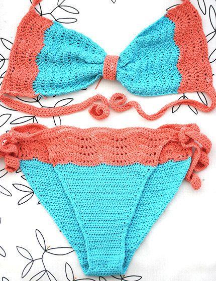 Bikini de ganchillo traje de baño turquesa salmón traje por MarryG