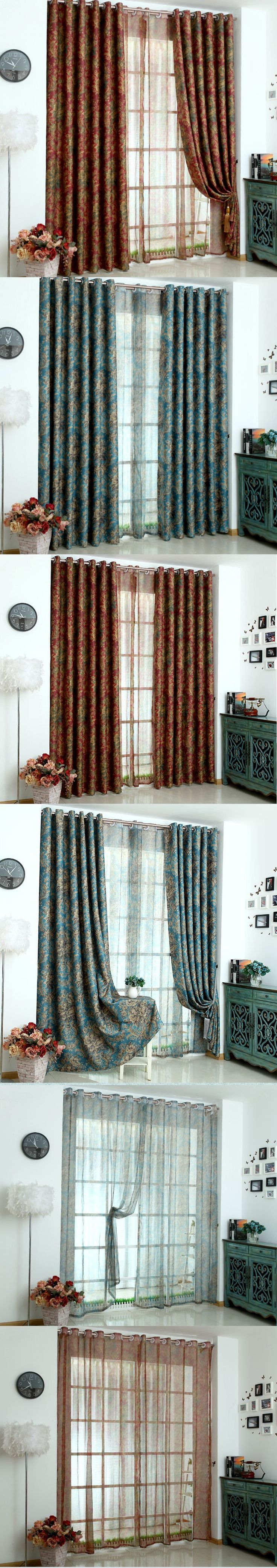 Blackout curtains for bedroom - Europe Luxurious Double Sided Printed Tulle Window Curtains For Living Room Bedroom Blackout Drapes Floral