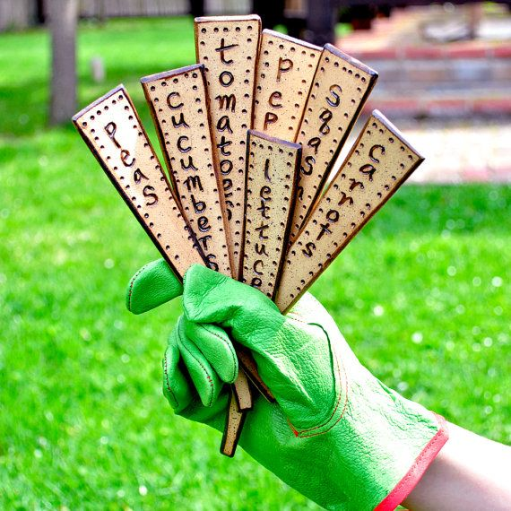 VEGETABLE plant markers ceramic veggie garden stakes by GlazedOver, $24.00