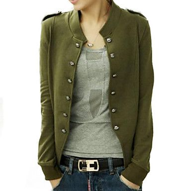 Women's+Blue/Black/Green+Jacket,Long+Sleeve+–+USD+$+12.99