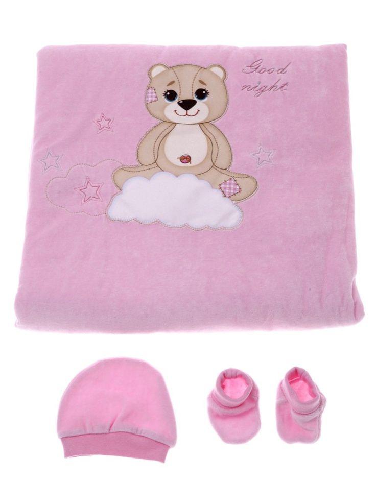 Bebecix σετ κουβέρτα-υπνόσακος, σκουφάκι, καλτσάκια «Happy Baby»  €18,90
