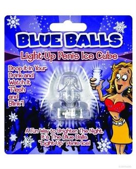 BLUE BALLS LIGHT UP ICE CUBE - Bright light up penis ice cube flashes and blinks.Do not freeze.