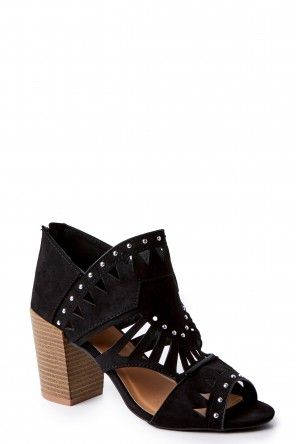 New Stud In Town Black Cut Out Ankle Booties at reddressboutique.com