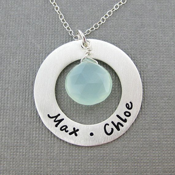 Hand Stamped Mommy Necklace  Circle of Love  by jcjewelrydesign