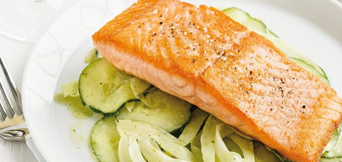 Grilled Salmon with Cucumber and Fennel Salad Recipes | Ricardo-any fish will work -great hot weather meal