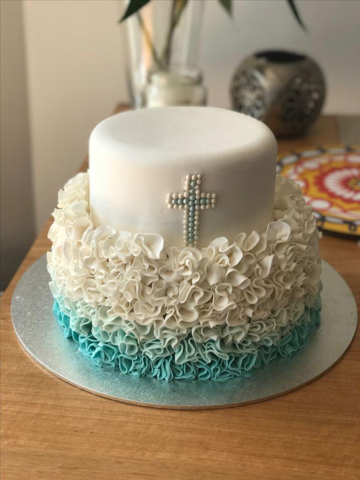 Baptism cake ruffle cake