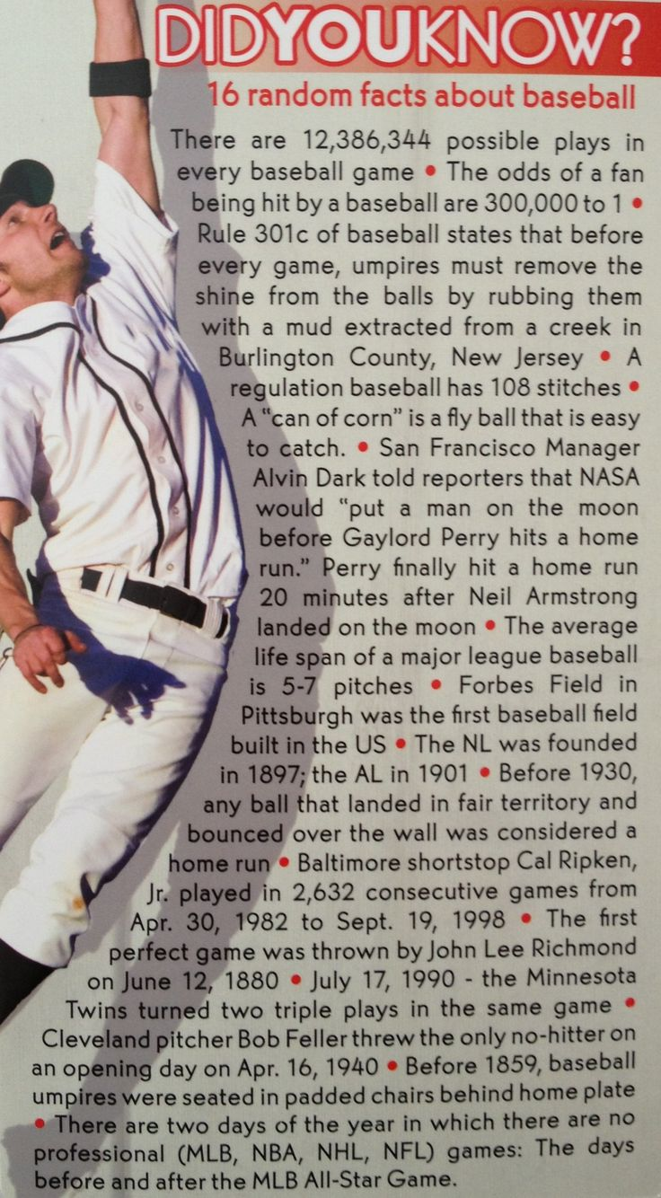 I am going to memorize each and every one of these facts just to be smarter than every man baseball fan.