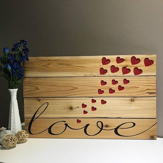 Love Carved Wood Sign