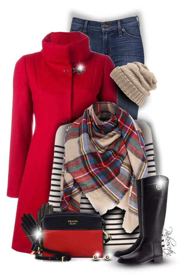 Red Coat by pinkroseten on Polyvore featuring polyvore, fashion, style, Saint James, FAY, Tory Burch, Prada, Ted Baker, Leith, John Lewis and clothing