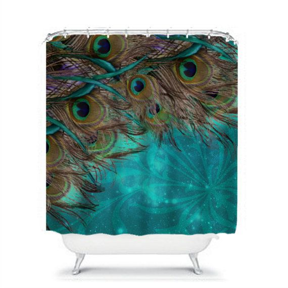 Shower Curtain Turquoise Peacock Beautiful by FolkandFunky on Etsy