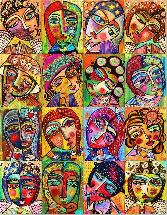 Anges et déesses ** - SILBERZWEIG ORIGINAL Art PRINT - Frida, mexicaine, Folk, moderne, inséparable, étoiles, vin, têtes de mort, fleurs, coeurs, les poissons,