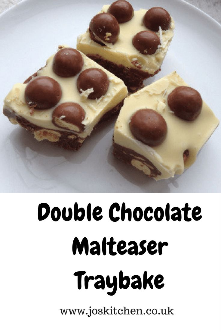 This double chocolate malteaser traybake is really easy to make and is very yummy! You will want more than one slice of this!