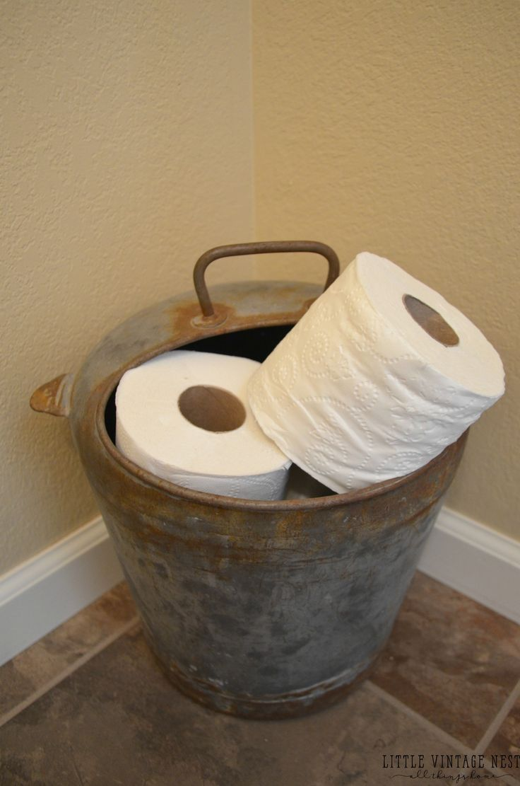 Farmhouse Bathroom Decor::Vintage Cream Can for Toilet Paper