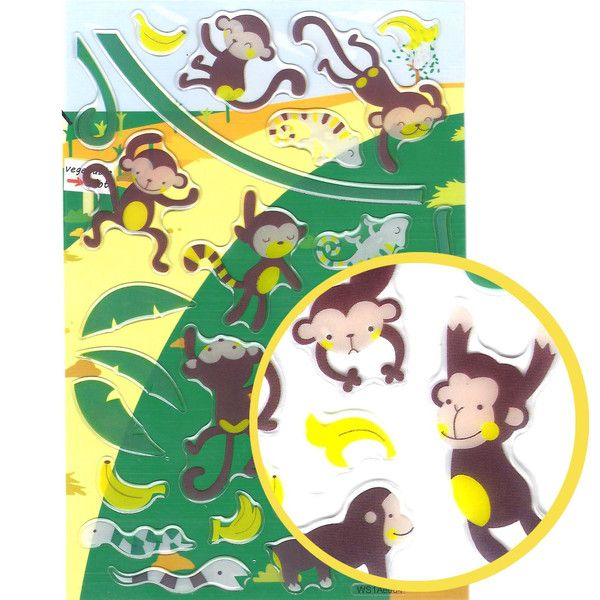 Naughty Monkeys Cartoon Animal Jelly Puffy Stickers for Scrapbooking