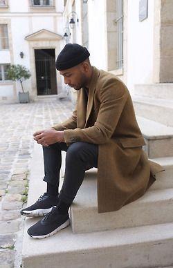 // coat + sneakers