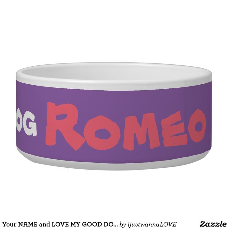 Your NAME and LOVE MY GOOD DOG Pet Bowls Large Own this cute LOVE MY GOOD DOG and your pets name. printed onto the purple Pet Bowl TODAY! ADD your pets name, with quick easy name changer template. Safe 100% white Ceramic pet feeding bowl, large size. Dishwasher and Microwave safe. $32.95